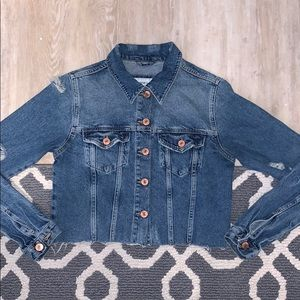 Forever 21 ripped distressed denim jean jacket